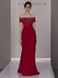 Wonderful Chiffon Off The Shoulder Short Sleeves Zipper Beading and Ruching Prom Dress in Red