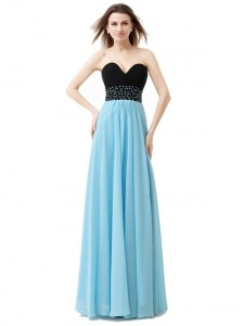 Sleeveless Chiffon and Sequined Floor Length Lace Up Prom Gown in Blue And Black with Beading