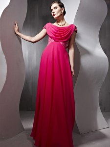 Scoop Cap Sleeves Prom Evening Gown Floor Length Beading and Ruching Hot Pink Chiffon