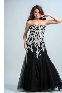 Sleeveless Tulle Floor Length Zipper Prom Evening Gown in Black with Embroidery
