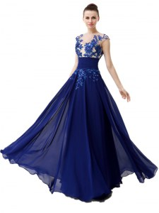 Smart Blue Cap Sleeves Chiffon Zipper Prom Dresses for Prom