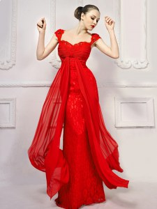 Cap Sleeves Lace With Brush Train Lace Up Prom Party Dress in Red with Beading and Lace and Sashes ribbons