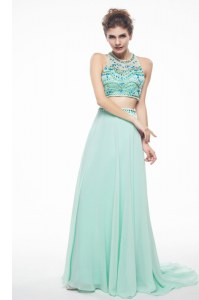 Glorious Scoop Sleeveless Brush Train Criss Cross With Train Beading Dress for Prom