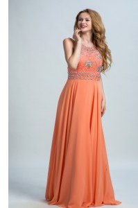 Scoop Sleeveless Floor Length Beading Backless Evening Dress with Orange