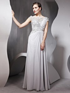 Floor Length Column/Sheath Cap Sleeves Silver Prom Evening Gown Side Zipper