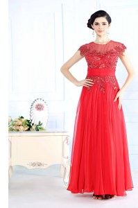 Coral Red Column/Sheath Scoop Sleeveless Organza Floor Length Zipper Beading Evening Dress