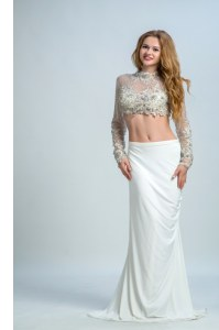 Delicate White High-neck Neckline Beading Juniors Evening Dress Long Sleeves Backless