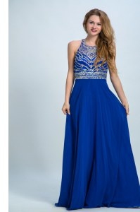 Sweet Scoop Sleeveless Chiffon Floor Length Criss Cross Prom Gown in Royal Blue with Beading