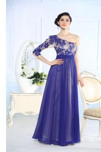 Blue Prom Dresses Prom and Party and For with Beading and Appliques One Shoulder Long Sleeves Side Zipper