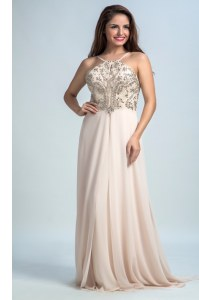 Chiffon Sleeveless Floor Length Dress for Prom and Sequins