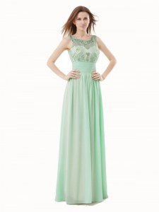 Scoop Apple Green Zipper Prom Party Dress Beading and Bowknot Sleeveless Floor Length