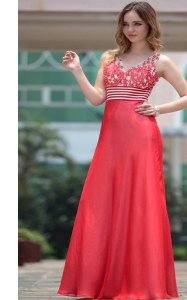 Red Sleeveless Floor Length Appliques Side Zipper Evening Dress
