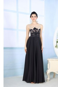 Dramatic Scoop Black Sleeveless Satin Zipper for Prom and Party