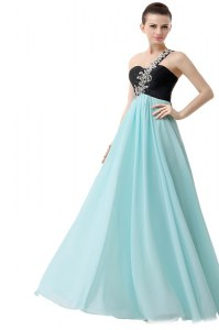 Fashionable Blue And Black Pageant Dress for Teens Prom and For with Beading and Ruffles One Shoulder Sleeveless Zipper