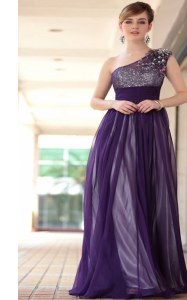 Comfortable One Shoulder Sleeveless Side Zipper Floor Length Beading and Appliques Prom Evening Gown