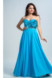 Glittering Sleeveless Floor Length Beading Zipper Prom Gown with Baby Blue