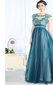 Pretty Teal Zipper Scoop Lace Evening Dress Chiffon Sleeveless