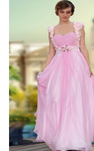 Custom Designed Satin Sweetheart Sleeveless Zipper Belt and Hand Made Flower Prom Dress in Rose Pink