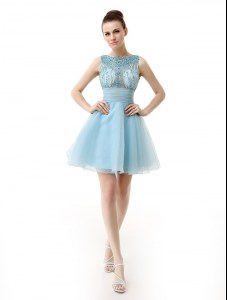 Light Blue Scoop Zipper Beading and Sashes ribbons Cocktail Dresses Sleeveless