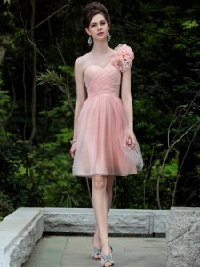 Stunning One Shoulder Knee Length Peach Prom Evening Gown Tulle Sleeveless Beading and Hand Made Flower