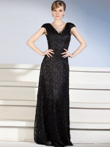 Elegant Cap Sleeves With Train Beading and Lace Side Zipper with Black Brush Train