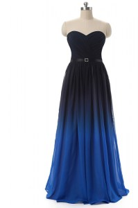 Floor Length Blue And Black Dress for Prom Chiffon Sleeveless Ruching and Belt