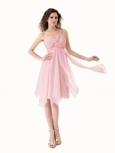 Baby Pink Chiffon Lace Up One Shoulder Sleeveless Knee Length Prom Dress Beading and Ruffles