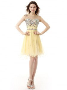 Flirting Bateau Sleeveless Zipper Cocktail Dresses Light Yellow Organza