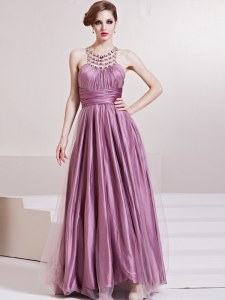 Dazzling Taffeta Scoop Sleeveless Zipper Beading and Ruching Prom Evening Gown in Lilac