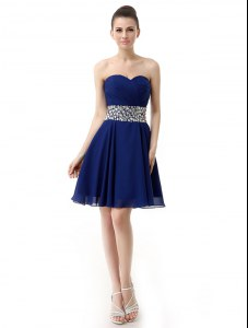 Clearance Blue Chiffon Lace Up Prom Gown Sleeveless Mini Length Beading and Ruffles