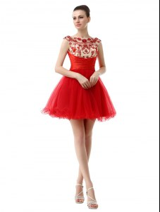 Fine Red Organza Zipper Cocktail Dress Cap Sleeves Mini Length Beading and Ruching