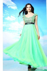 Sleeveless Backless Floor Length Beading Dress for Prom
