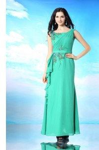 Fashion Floor Length Green Dress for Prom Organza Sleeveless Beading and Appliques