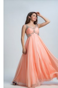 Glittering Orange Backless Straps Beading Runway Inspired Dress Organza Sleeveless