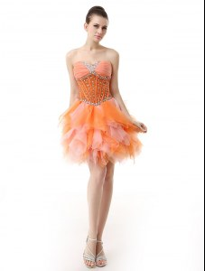 Fantastic Sweetheart Sleeveless Club Wear Knee Length Beading and Ruffles Multi-color Organza