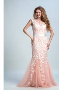 Sleeveless Tulle and Lace Floor Length Zipper Prom Party Dress in Peach with Lace