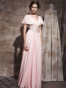 Cheap V-neck Short Sleeves Floor Length Beading and Ruching Pink Chiffon