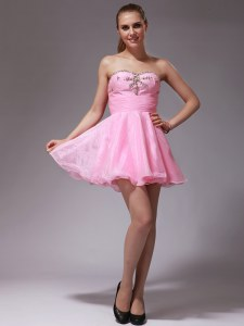 Mini Length Zipper Cocktail Dress Pink for Prom and Party with Beading