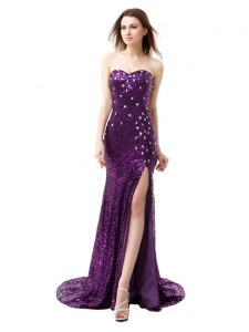 Mermaid Sleeveless Floor Length Beading and Ruffles Side Zipper Glitz Pageant Dress with Purple Brush Train