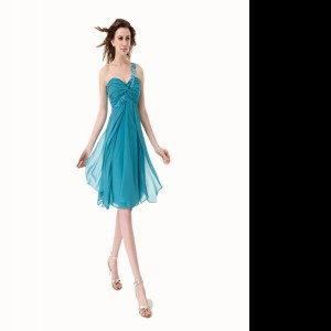 Teal Chiffon Side Zipper One Shoulder Sleeveless Knee Length Homecoming Gowns Beading and Ruffles