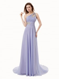 Top Selling One Shoulder Lavender Sleeveless Floor Length Beading Zipper Homecoming Dress