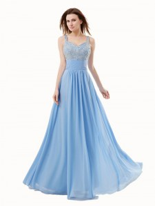 Floor Length Blue Custom Made Pageant Dress Spaghetti Straps Sleeveless Side Zipper