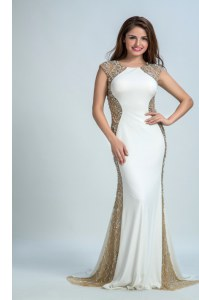 White Chiffon and Tulle Backless Bateau Sleeveless Floor Length Prom Party Dress Beading