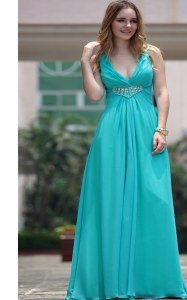 Elegant Aqua Blue V-neck Neckline Beading Homecoming Dress Sleeveless Side Zipper