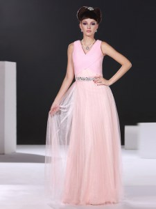 Elegant Pink Prom Gown Prom and Party and For with Beading and Ruching V-neck Sleeveless Side Zipper