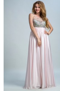 Floor Length Empire Sleeveless Baby Pink Prom Dresses Side Zipper