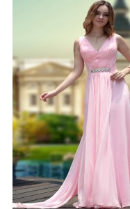 Sweet V-neck Sleeveless Zipper Prom Gown Pink Chiffon
