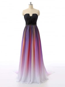 Shining Zipper Prom Dress Multi-color for Prom and Party with Ruching Sweep Train