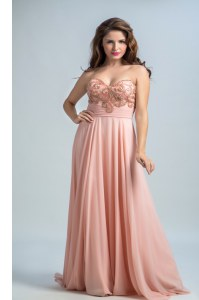 Baby Pink Zipper Prom Party Dress Beading Sleeveless With Brush Train