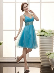Aqua Blue Straps Neckline Beading Prom Party Dress Sleeveless Zipper